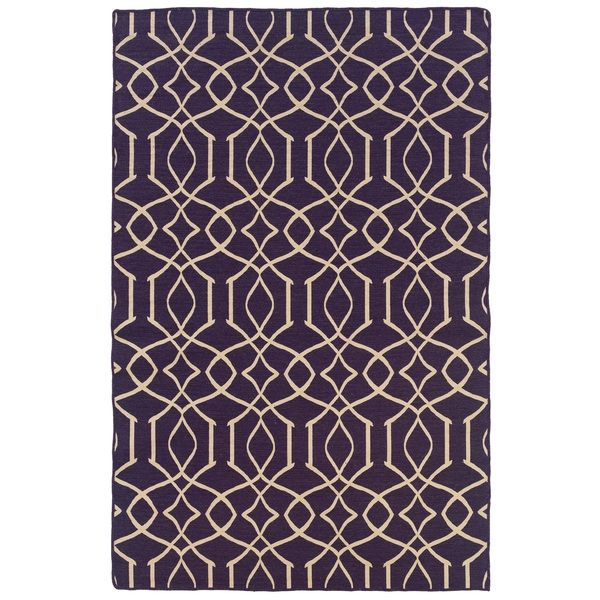 Oh! Home Foundation Collection Purple Trellis Reversible Rug (5' x 8')