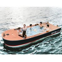 The Hot Tub Boat by Hammacher Schlemmer--kinda defeats the purpose of the lake, huh?