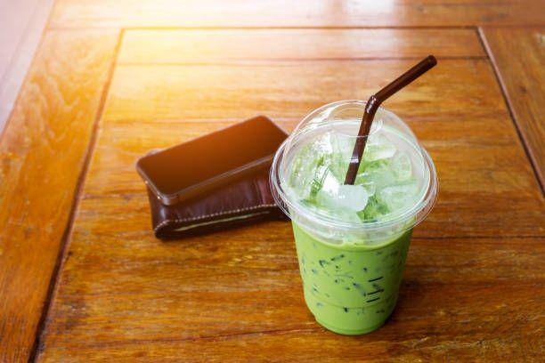 ice green tea on wood table background