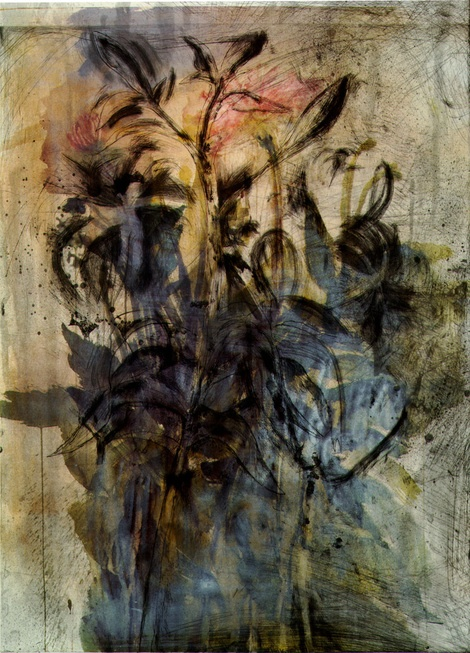 Lily Etching (From flowers in Manhattan) by Jim Dine. Intaglio and screenprint with hand-coloring. 1998.