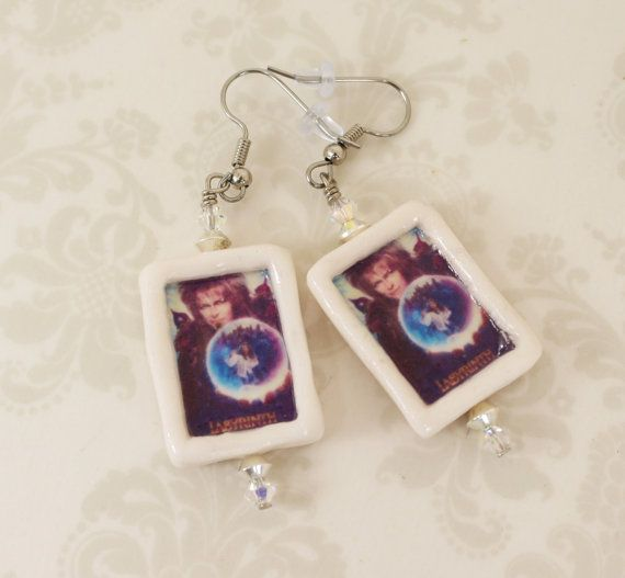 Labyrinth Movie Poster Earrings - 80's Movies - Jaerth - The Goblin King - Sarah Williams - Ludo - Toby - Hoggle - Jim Henson - Polymer Clay