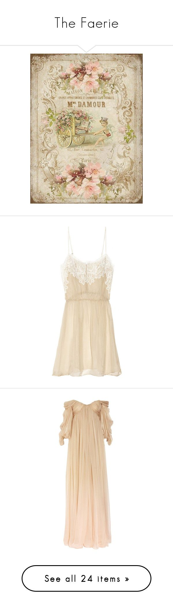 """The Faerie"" by stradlatersgirl ❤ liked on Polyvore featuring backgrounds, filler, dresses, lingerie, vestidos, pajamas, gowns, long dresses, beige evening dress and silk chiffon dress"