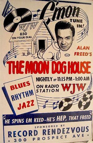 Early 1950s print ad for Alan Freed's radio show on Cleveland's WJW, sponsored by the Record Rendezvous.