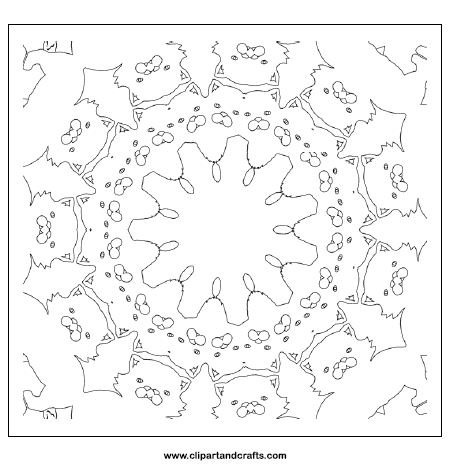 Cat mandala coloring page for teens