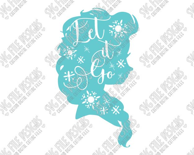 Elsa Silhouette Disney Word Art Cut File Set in SVG, EPS, DXF, JPEG, and PNG