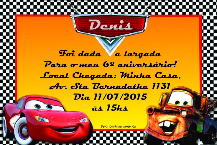 convite aniversário Dennis, #carros, #up's