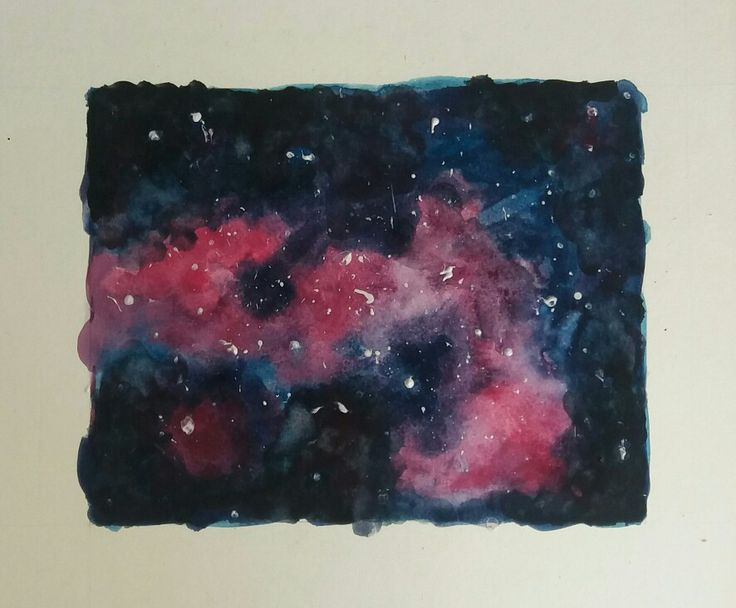 My first attempt at a galaxy/space watercolour painting