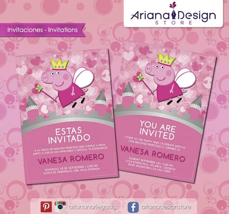 #printable #invitation #peppapig #arianadesignstore #peppa #invitacion