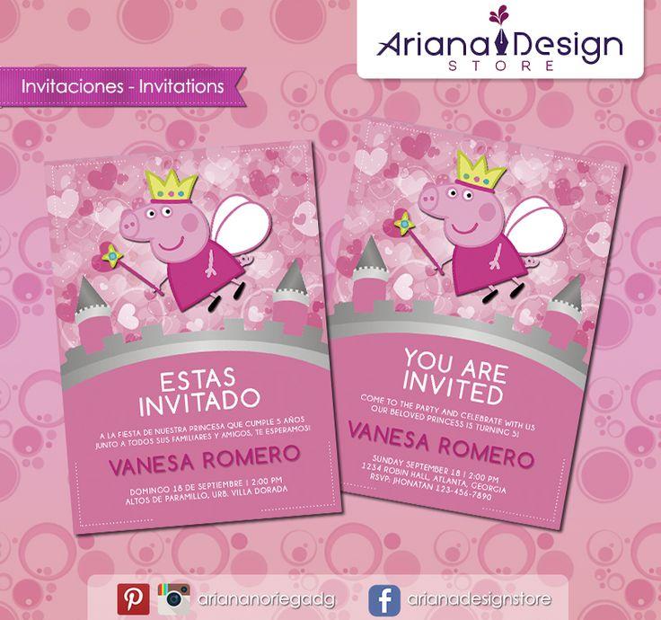 #printable #invitation #peppapig #arianadesignstore #peppa #invitacion #cumpleaños #fiestainfantil #imprimible
