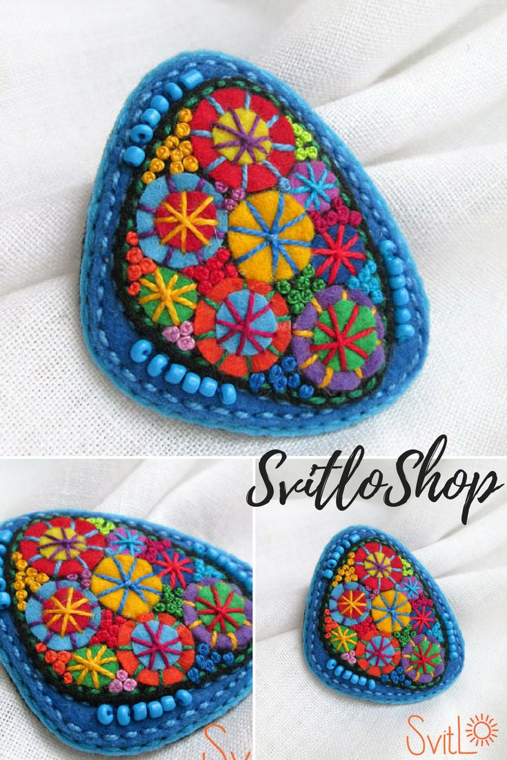 Colorful felt brooch Modern geometric jewelry Textile fabric hand embroidered unique jewelry Christmas gift ideas for her Stylish jewelry. USD 17.11