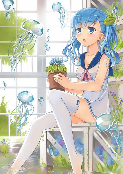 Master Anime Ecchi Hentai Cartoons Pictures Wallpapers Gif Still Anime (http://epicwallcz.blogspot.com/) Background Bubble Fish Flower Jewelry (http://masterwallcz.blogspot.com/) Flowers Sashs Thighhighs Underwater Blush Long Sleeves