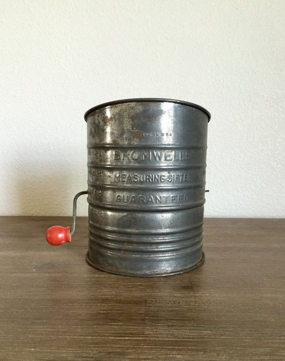 Vintage Flour Sifter Bromwell's 5 Cup Tin Flour by Speckadoos