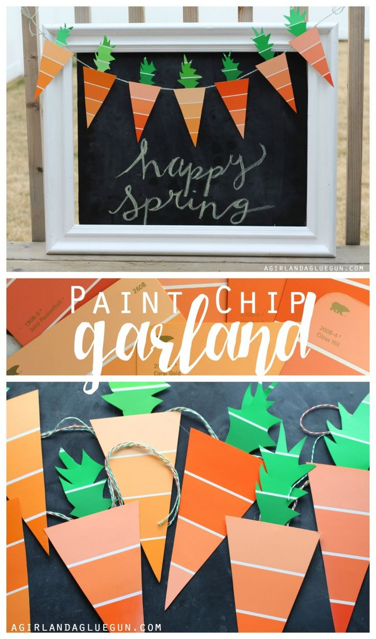 paint chip carrot garland for spring