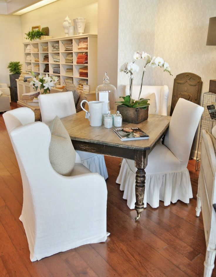 Captain Dining Chairs And Parsons Ruffle Skirted Around Our Farmhouse Table