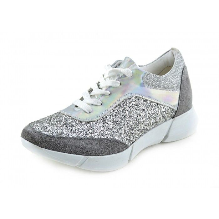 Womens Casual Trainers Sneakers Glitter Sparkly Pumps Lace Up Shoes