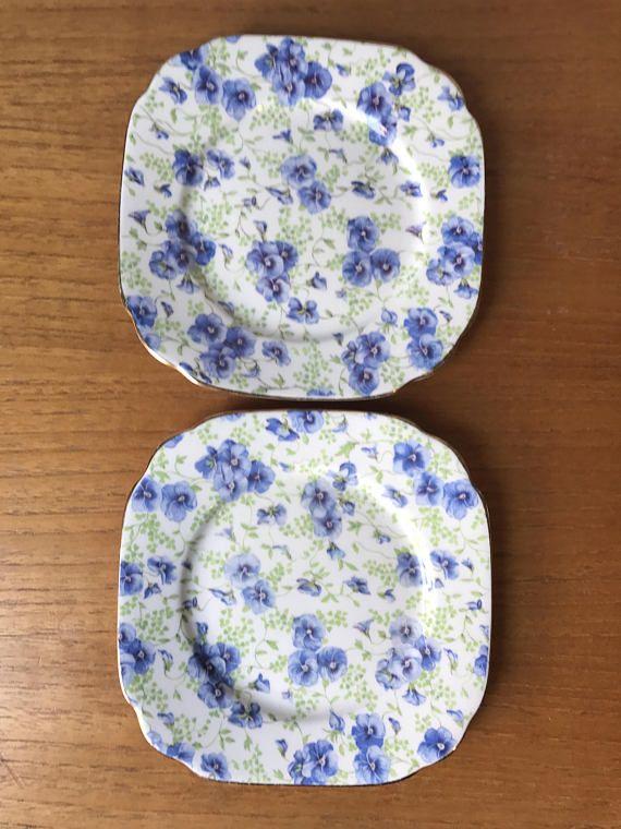 Royal Albert Crown China Blue Pansy Plates Flower Chintz