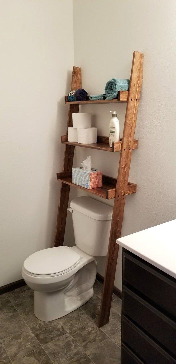 Over the Toilet Ladder Shelf / Over the Toilet Storage / | Etsy #BathroomDecorTu…   – Bathroom Design Layout