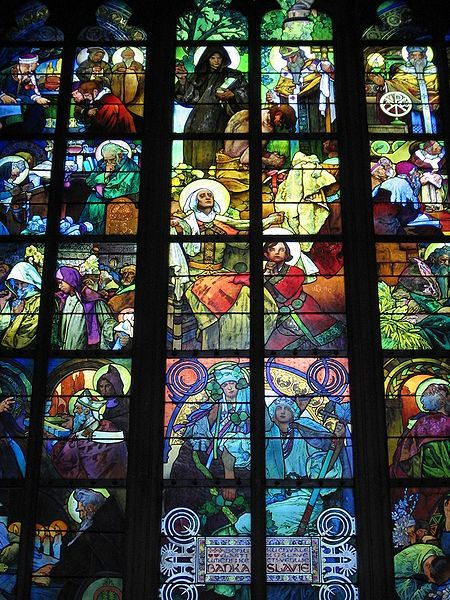 Window by Alfons Mucha, Saint Vitus Cathedral Prague, has a montage of images, rather than a tightly organised visual structure, creating an Expressionistic effect.: Stainedglass, Stained Glass Windows, Stainglass, St. Vitus, Stained Glasses Window, Glasswindow, Prague, Vitus Cathedrals, Alphonse Mucha