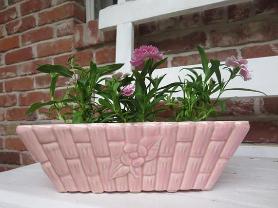Soft Pink USA Pottery Bamboo Planter Oblong Rectangle 350