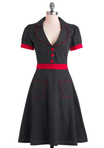 Worn With Aplomb Dress - Long, Cotton, Black, Red, White, Polka Dots, Buttons, Pockets, Casual, Rockabilly, Vintage Inspired, A-line, Shirt Dress, Short Sleeves