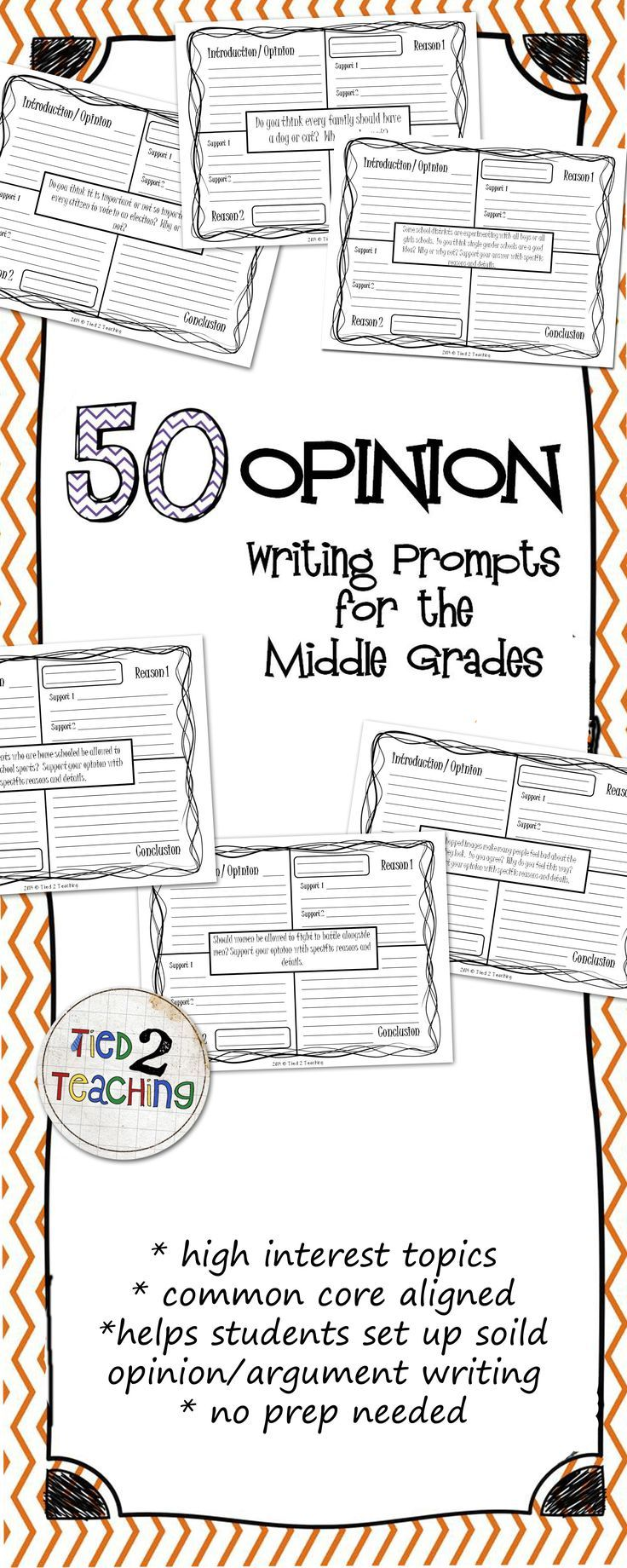 This resource comes with an extensive, Common Core Aligned, 50 Opinion / Argument Writing Prompts for the Middle Grades. Perfect for helping students organize their thinking as they structure and format their opinion and argument writing, these 4-square p