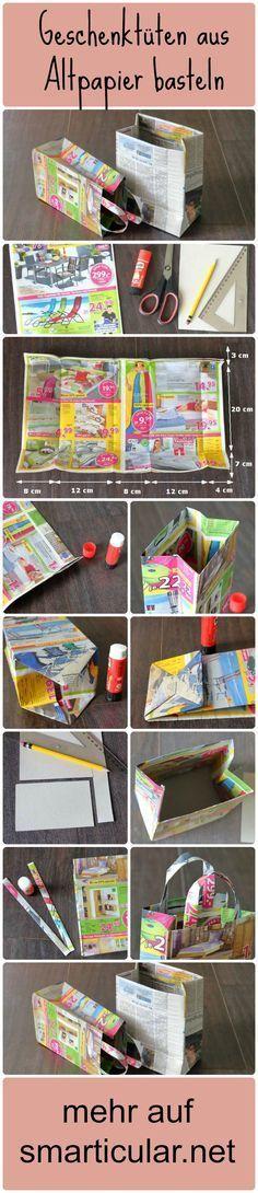 Zeitungen und Werbeprospekte ins Altpapier? Du kannst viele nützlich Dinge damit basteln. Hier detaillierte Anleitung für selbstgemachte Geschenktüten!: