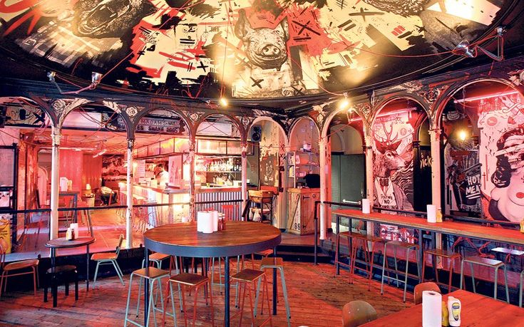 Meat liquor - Trendy interior only illuminated by red light and punctuated with blazingly loud music, queue to get in (no reservations), but worth it for the incredible burgers and cheese fries. If it's too busy consider Meat Marker (Covent Garden) or Meat Mission (Hoxton) - ££