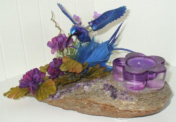 Chandelier RockFée, Colibri Bleu Jardin Violet, Améthyste de la boutique LAFABRIQUEFEERIQUE sur Etsy