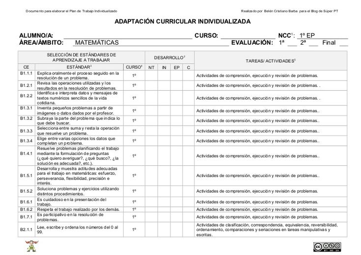 Documento base para elaborar el PTI del área de Matemáticas. Lleva los estándares de aprendizaje de 1º a 6º de EP y unas actividades generales.