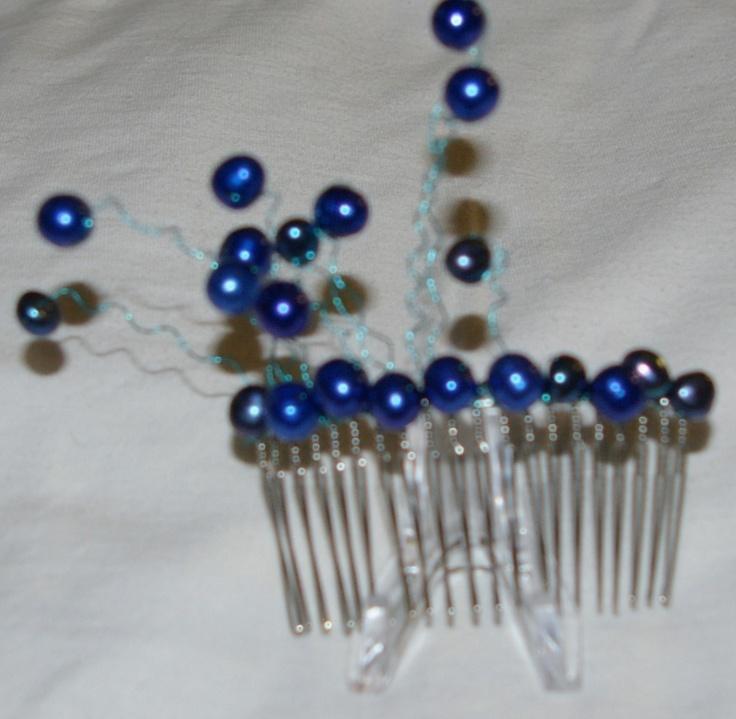blue pearl hair comb