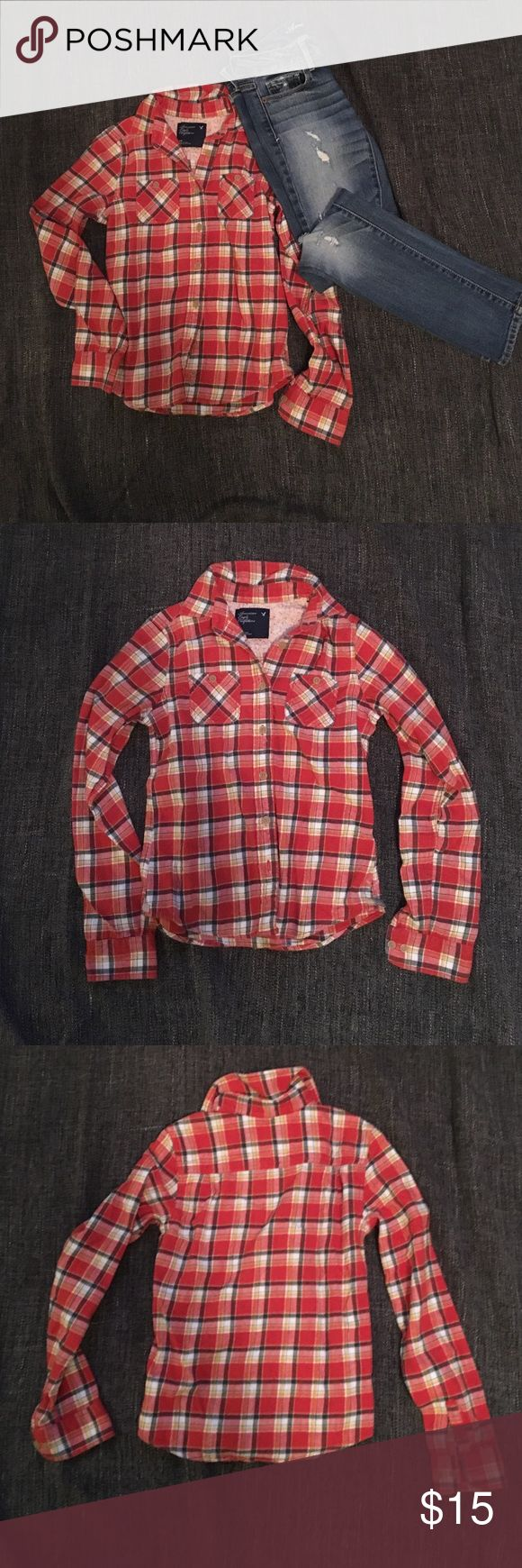 American Eagle flannel Super cute flannel, great condition! Adorable with some ripped jeans (also for sale in my closet) American Eagle Outfitters Tops Button Down Shirts