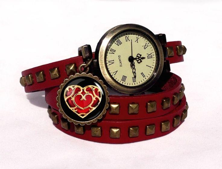 Leather watch bracelet ZELDA HEART, 0346WRC from EgginEgg by DaWanda.com