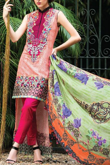 Buy Pink Embroidered Cotton Lawn Dress by LSM Charlotte Exclusive Collection.