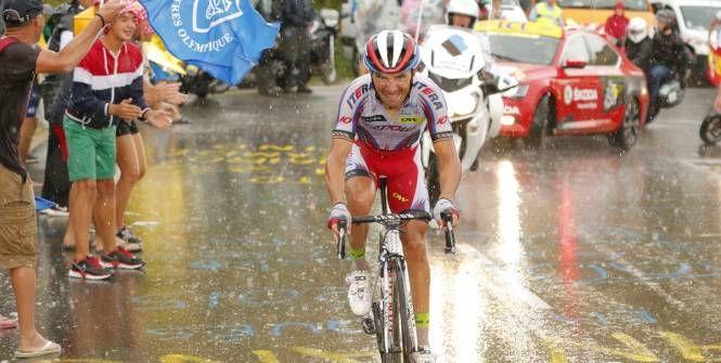 La pluie et la difficulté du Plateau de Beille n'ont pas empêché Joaquim Rodriguez de signer une deuxième victoire d'étape. (S.Boue-L'Equipe) (L'Equipe)