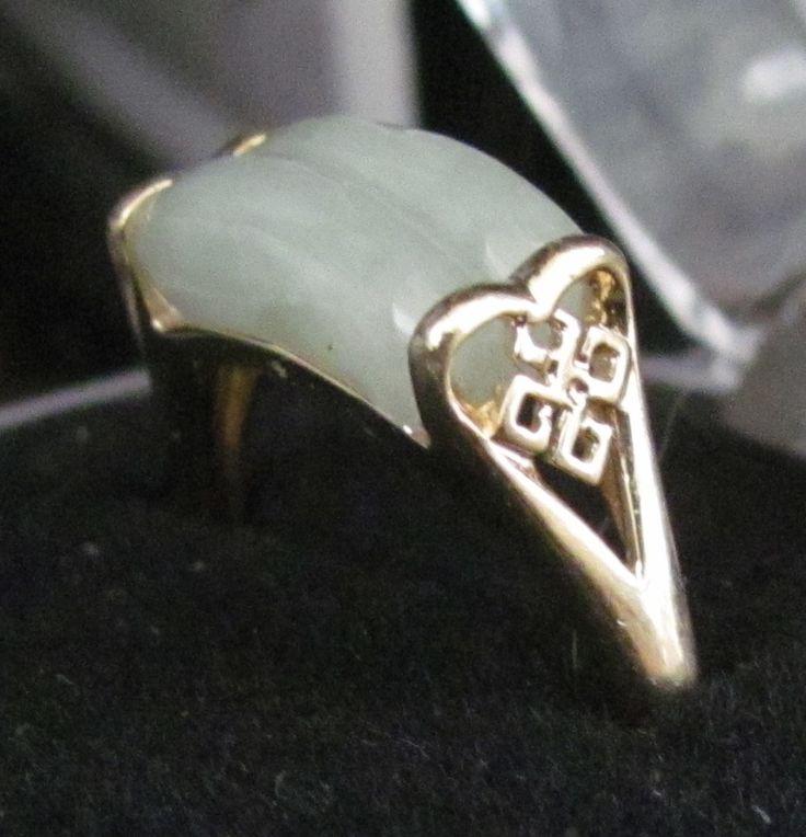 14k Antique Jade Ring. See it at https://www.rubylane.com/shop/odditiesandantiquites