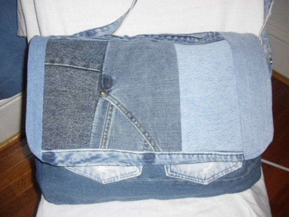 Recycled Blue Jean Gym/Diaper Bag by jeanoligy on Etsy, $47.95