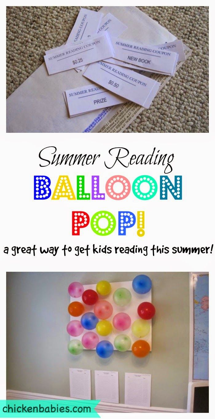 Summer reading balloon pop incentive - great idea for encouraging kids to read this summer!