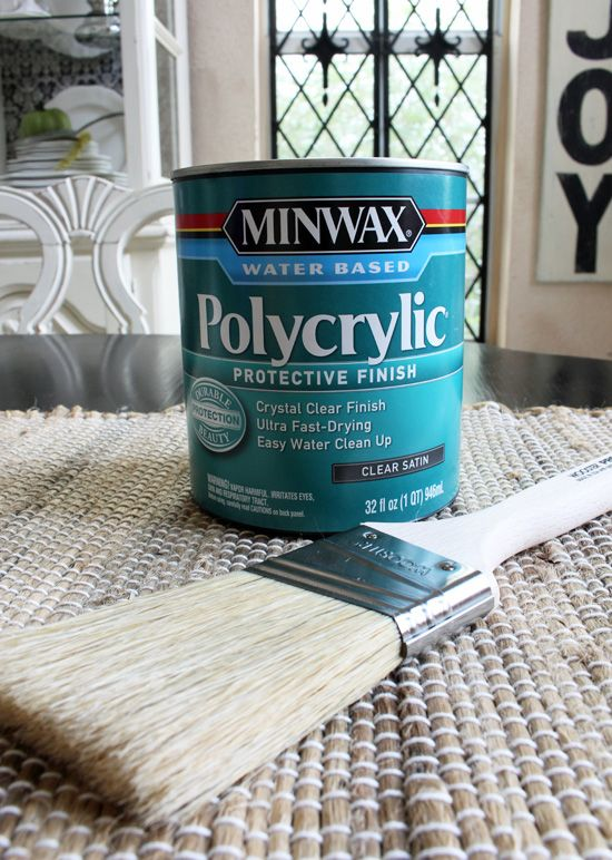 Minwax Polycrylic gives a long lasting durable finish. *****To apply it, use a brush specially designed for polyurethane by Wooster. The brush makes all the difference. If you use a regular brush like a brush you would paint with, you will get a ton of brush marks in your finish.