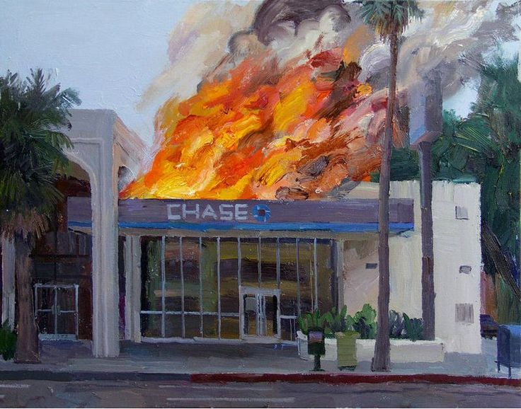 Alex Schaefer's paintings work together as expressive and documentary evidence of the current financial crisis, its sources and place in history. Very recently, Schaefer gained notoriety for his plein air paintings of various Los Angeles Chase Bank locations, which he painted being consumed by fires. As performative works, the banks aflame series was successful in drawing the ire and concern of Chase bankers, who had Schaefer arrested.