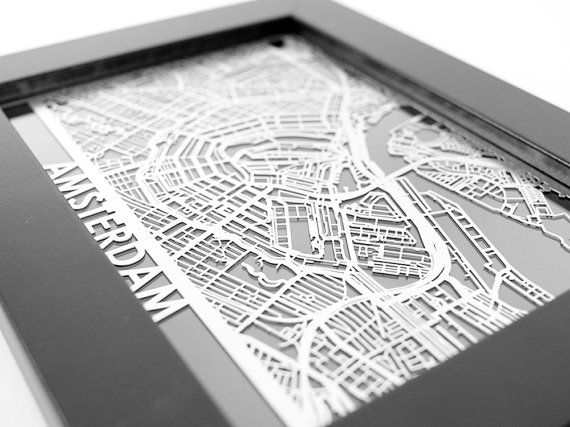 Amsterdam City Map | Cut Maps, Amsterdam Street Map | Laser Cut Stainless Steel…