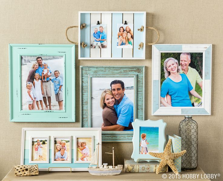 Arrange your frames on a gallery wall to fit the theme your wanting, and style the surrounding area with cohesive accessories.