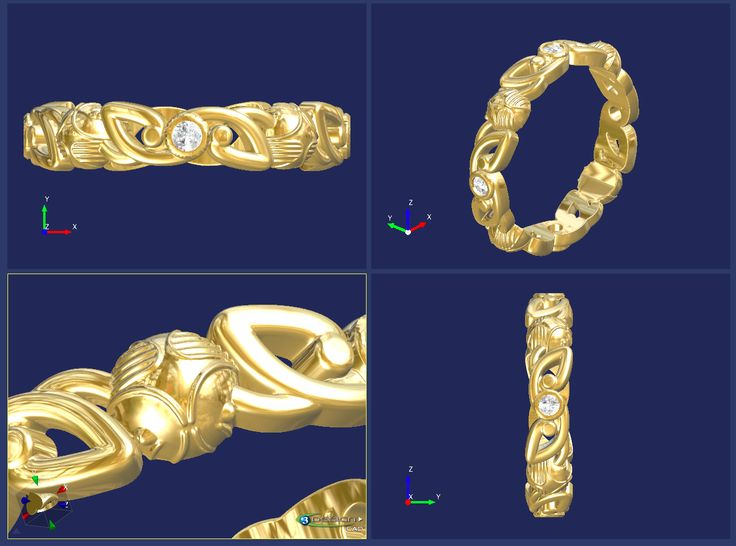 CAD image of 9ct Yellow Gold Celtic and 'Snitch' inspired ring. Rubover set with 4 round brilliant cut diamonds. Designed and made here in our workshops.  CAD by Chris Fisher    #CAD #3design #harrypotter #snitch #celtic