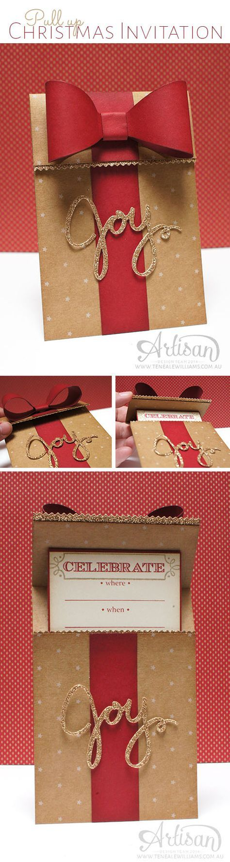 By Teneale Williams | Stampin'Up! Artisan Blog Hop | Christmas Invitation ... red paper bow on a kraft base ... luv the layering of JOY to make it thick and stand out ... wonderful card!