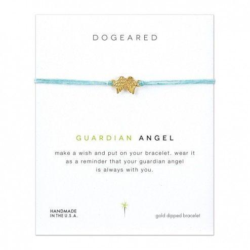 Dogeared Guardian Angel on Irish Linen Bracelet