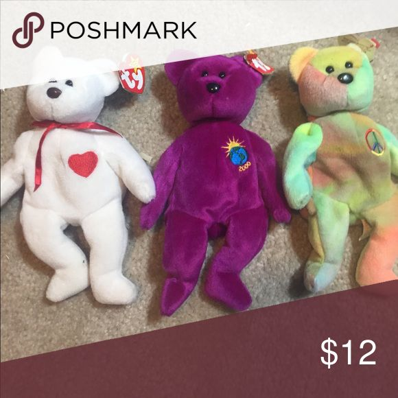 Valentino millennium & peace beanie baby toy set 3 collectors beanie babies beanie baby Other