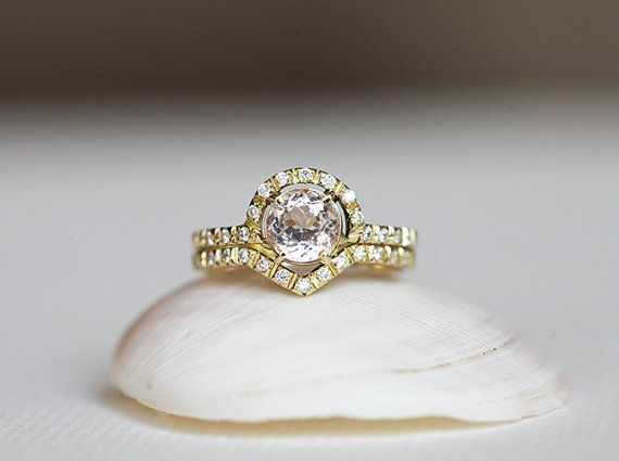 Morganite Engagement Ring Round Morganite Ring Yellow by capucinne