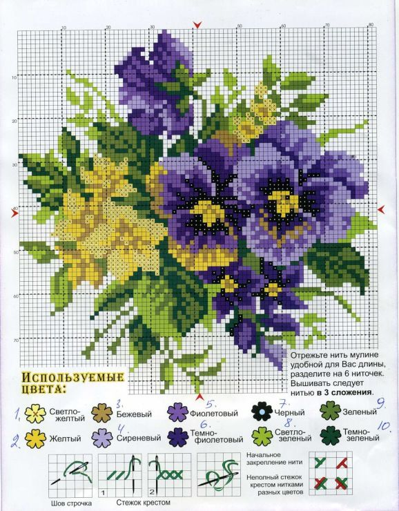 Love pansies.  Website and pattern sheet are in Russian.  Translating does not change the wording on the pattern sheet to English.  Easy to figure it out.