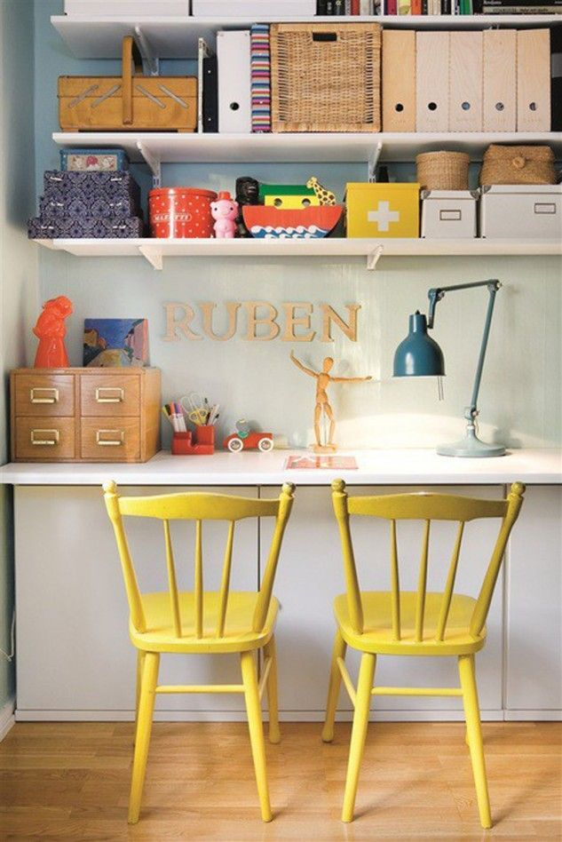 Under desk cupboards?   study nook for a kid