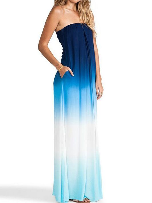 Blue Cocktails Georgette Poplin Dupioni Multiway Ombre Strapless Bandeau Beautifully Casual Maxi Dress 17.51