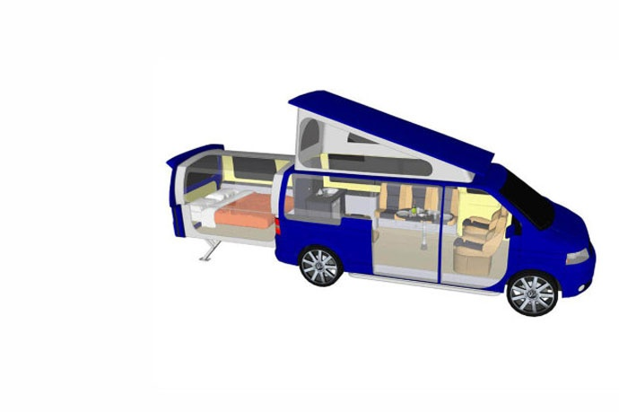 Practical Motorhome DoubleBack – VW's Sliding Extension Van !